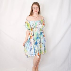 ECHO Floral Print Dress Kaftan Coverup NWT 0516
